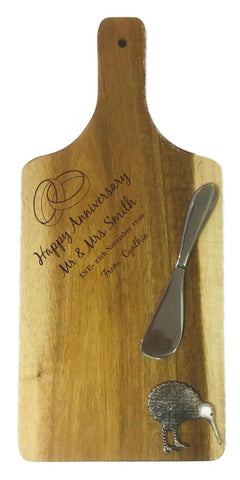 Personalised Engraved Acacia Wood Paddle Board With Two Rings