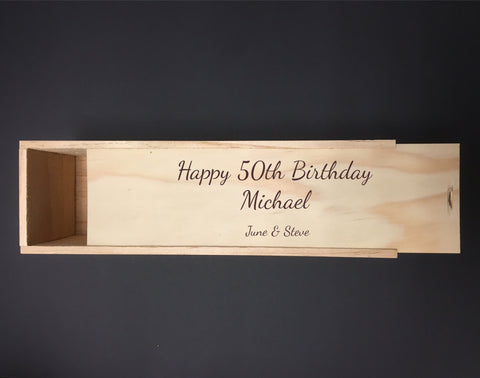 Personalised Single Bottle NZ Pine Wood Wine Box – 50th Celebration