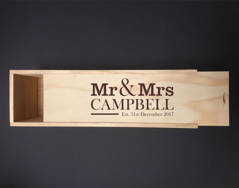 Personalised NZ Pine Wine Box With Mr & Mrs With Date