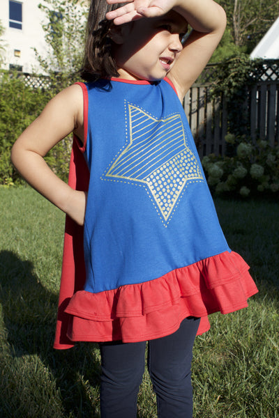 Barbara (Blue w/Gold Star) Dress and Cape