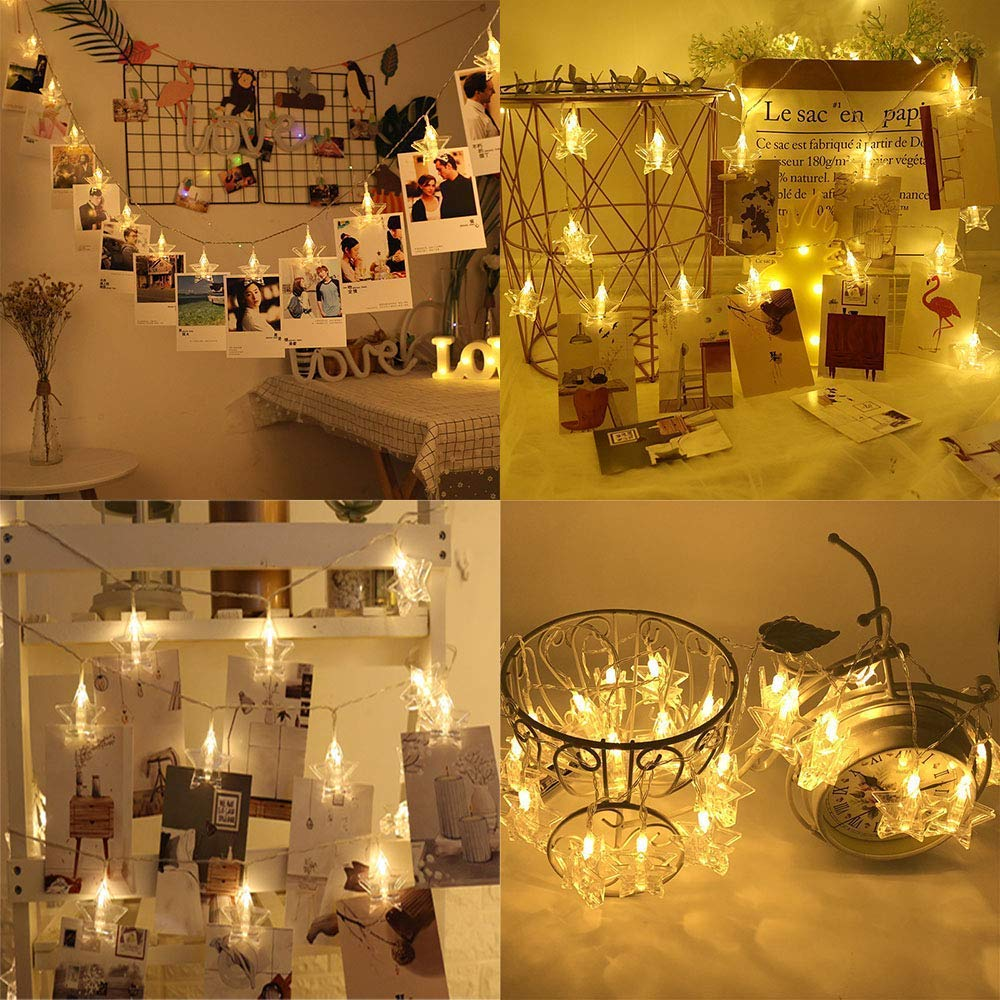 Fiver Star LED Photo Clips String Lights Clips Battery Light