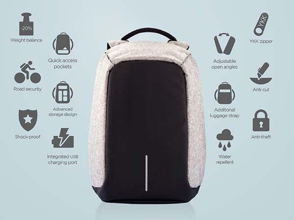 Anti-theft Men Canvas Laptop Backpack