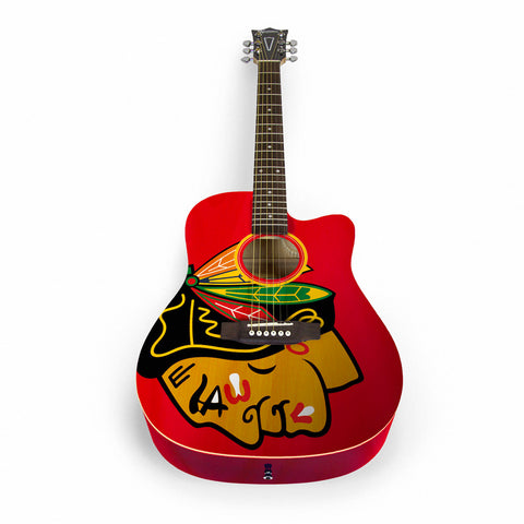 Chicago Blackhawks Acoustic Guitar