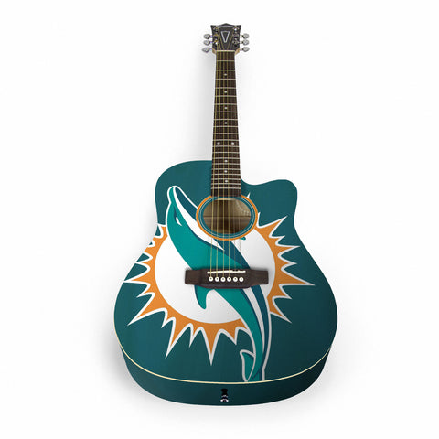 Miami Dolphins Acoustic Guitar - The Sports Vault