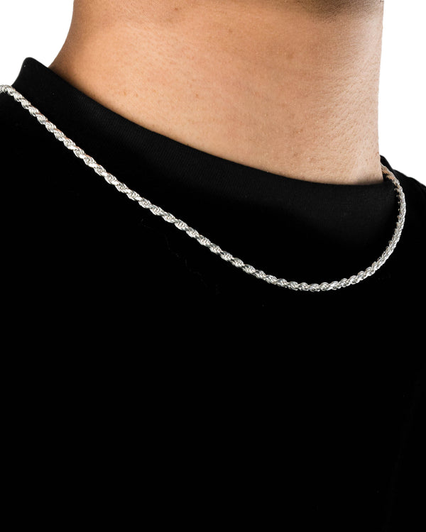 20'' Rope Chain 3.2mm Solid 925 Sterling Silver