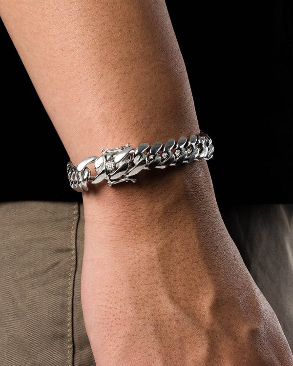 8.25'' Miami Curb Bracelet 12.5mm Sterling Silver 925