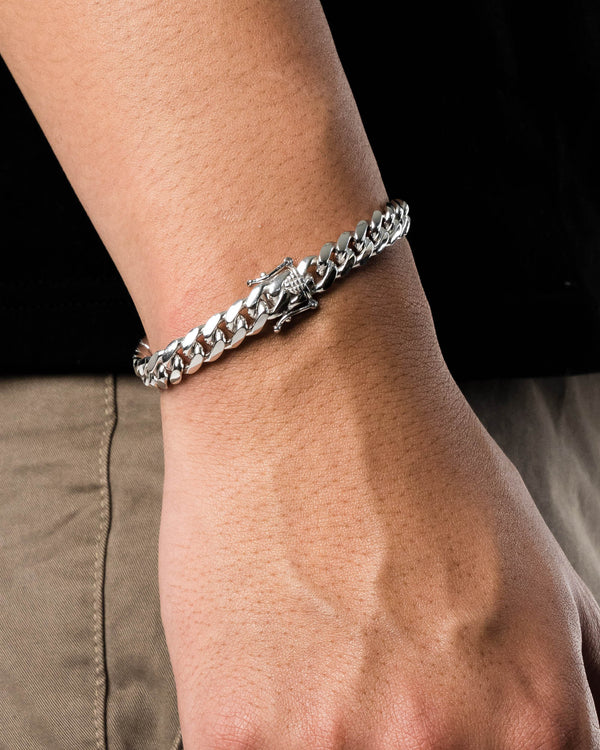 8'' Miami Curb Bracelet 9mm Sterling Silver 925