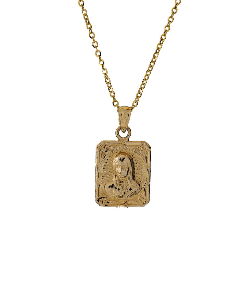 Mary & Jesus Necklace Solid 14k Gold - DAYFOURTEEN