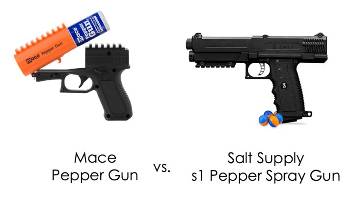 Salt Supply s1 Pepper Spray vs. Mace Pepper Gun 2.0 with Strobe LED