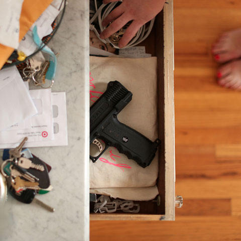 SALT pepper spray gun in drawer