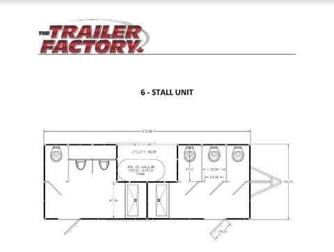 Six Stall Event-Grade Portable Restroom