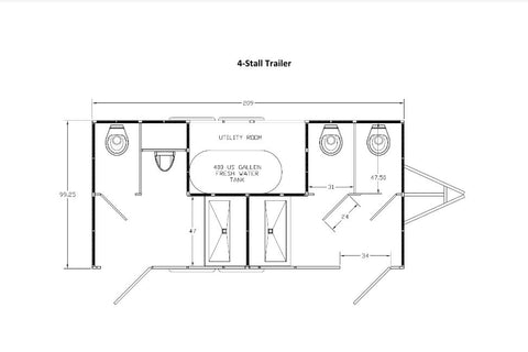 Four Stall Event-Grade Portable Restroom