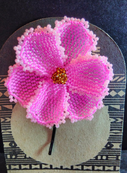 Large Pink Flower Beaded Hair Grip
