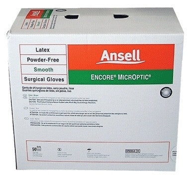 Encore MicrOptic Latex / Powder-Free / Sterile / Surgical Gloves, Ansell Healthcare SKU 5787003, Size 7 - AMDH