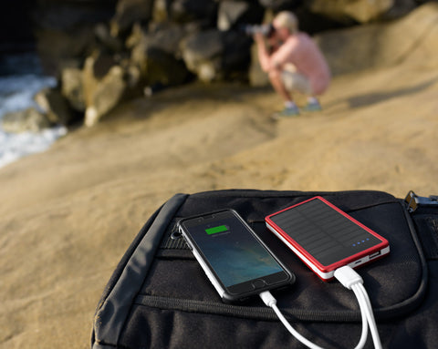 CSJ Solar iPhone Power Bank with Connectors and LED USB Light