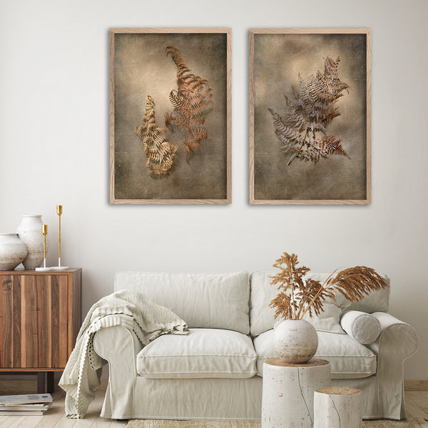 Earthy Ferns - 2x Large Art prints, set 2