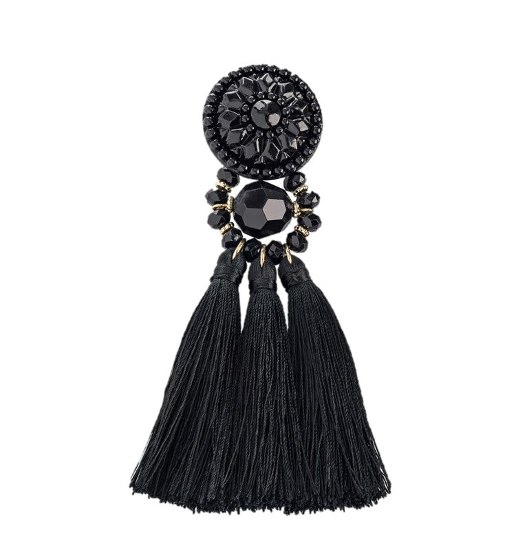 Black Chrystal and Tassel Earring