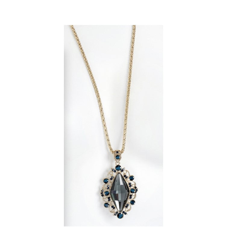 Chain Necklace with Striking, Victorian Style, Black Diamond Pendant