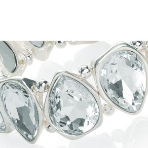 White Silver colour crystal tear drop design elasticated bracelet.