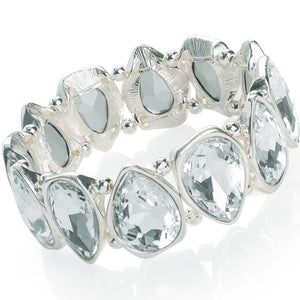 White Silver colour crystal tear drop design elasticated bracelet