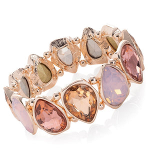 Rose gold colour peach tone crystal tear drop design elasticated bracelet