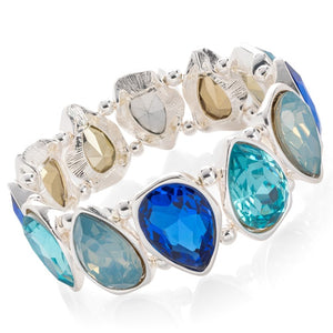 Silver Colour with Blue and Turquoise Tone Crystal Tear Drop Design Elasticated Bracelet