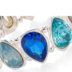 Silver Colour with Blue and Turquoise Tone Crystal Tear Drop Design Elasticated Bracelet.