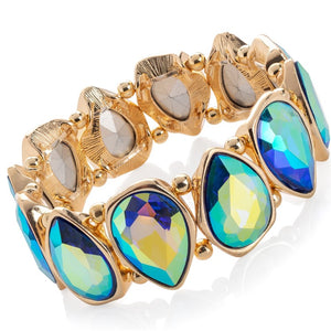 Mermaid gold colour blue crystal effect oval design elasticated bracelet