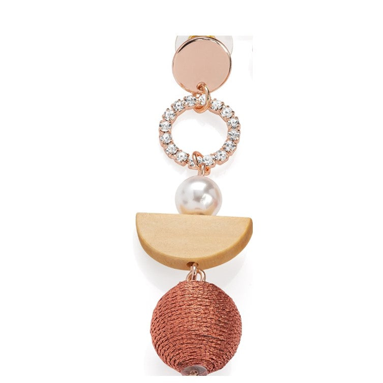 Rose Gold Color, Crystal & White Pearl Effect Earring