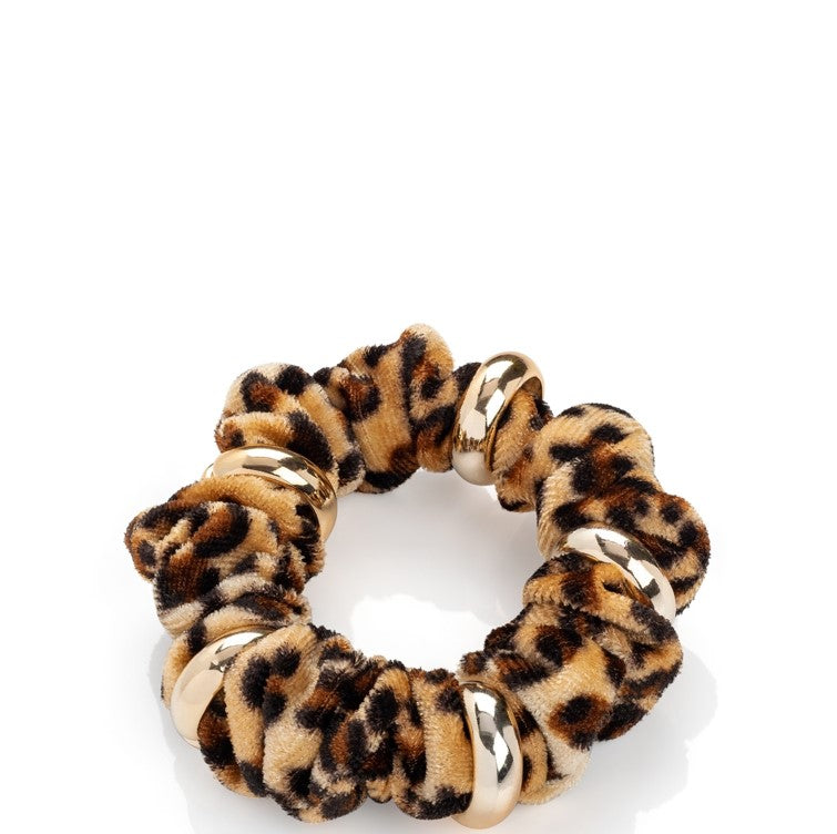 Animal Print Scrunchy With Gold Tone Rings