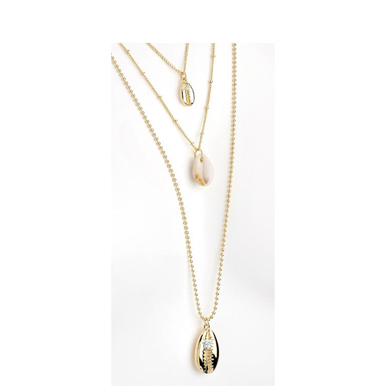 Gold Colour Charm Necklace with Shell Pendants