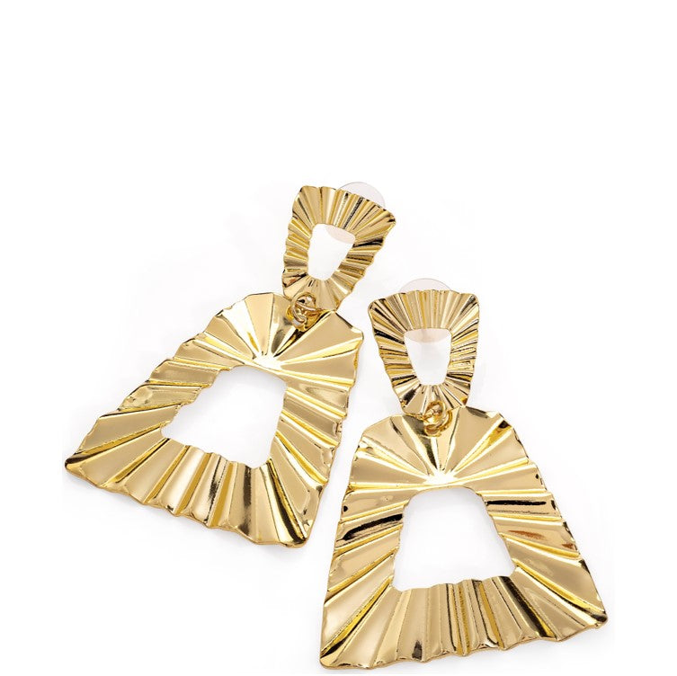 Gold Colour Triangle Design Earring
