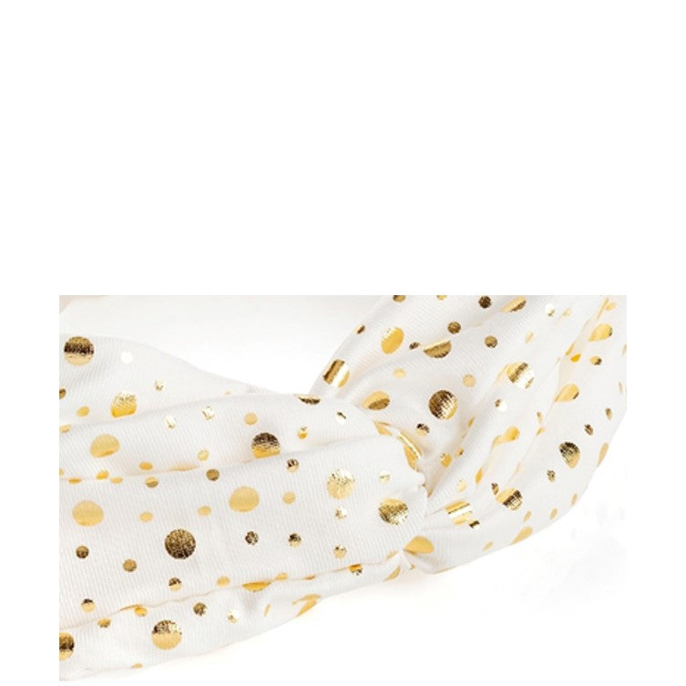 Hair Band in Cream colour with Gold dots