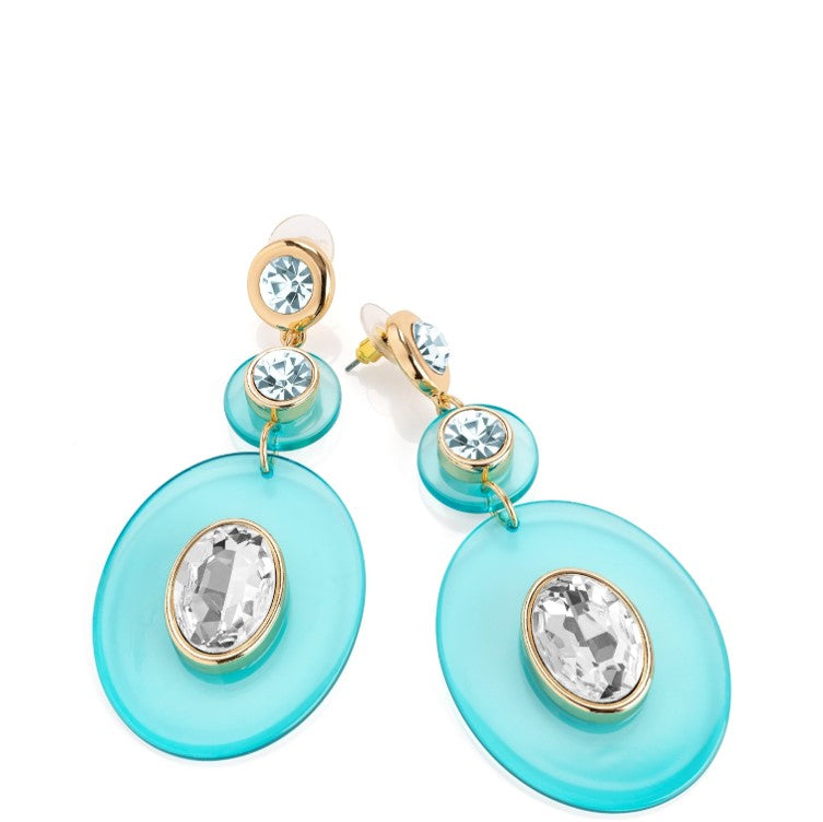 Turquoise & Crystal & Gold colour oval drop earring.