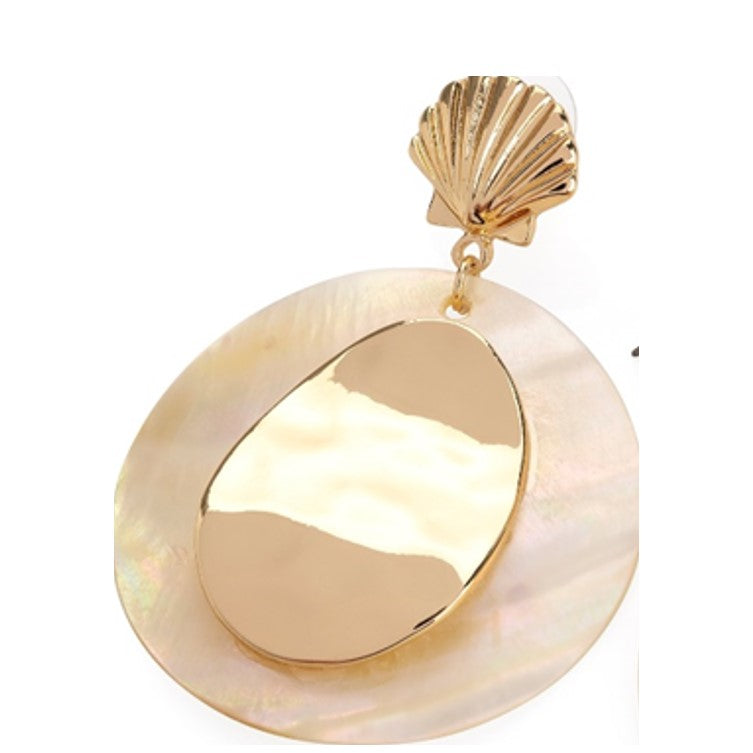 Gold Colour Shell Design Round Earring