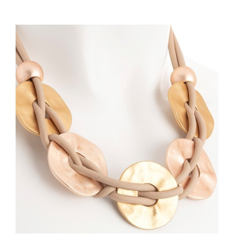 Matt Gold & Rose Gold Gordian Knot Effect Necklace