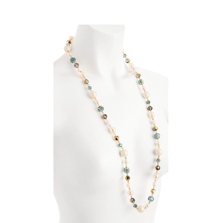 Necklace with Turquoise, Cream Pearl Effect and Gold Crystal Effect Beads
