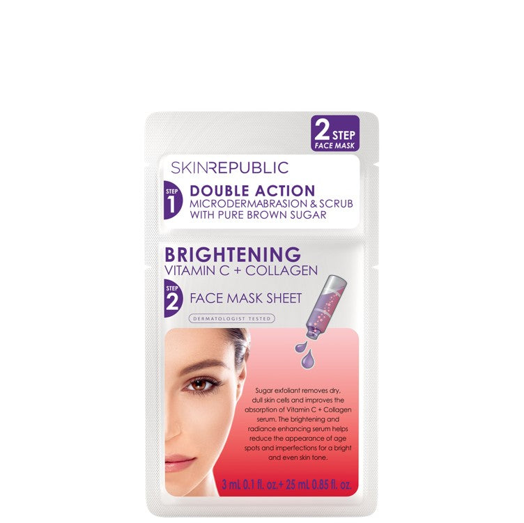 SkinRepublic 2 Step Brightening Vitamin C + Collagen Face Sheet Mask