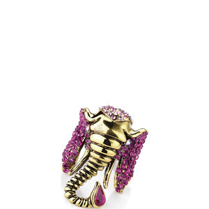 Burnished gold effect fuchsia colour crystal elastic elephant ring