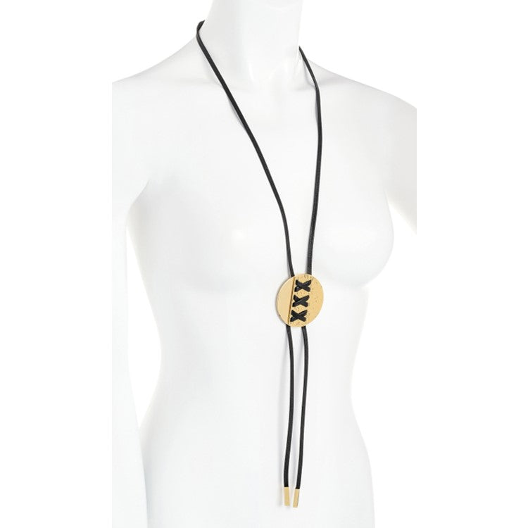 Gold colour black cord platted design tassel necklace
