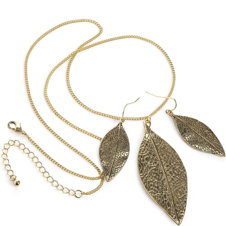 Antique gold colour leaf design chain necklace & earring set