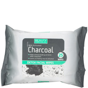 Beauty Formulas Charcoal Facial Wipes 25 Piece