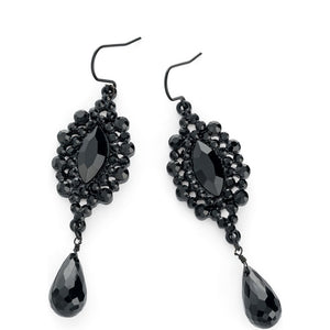 Black enamel & black bead drop earring