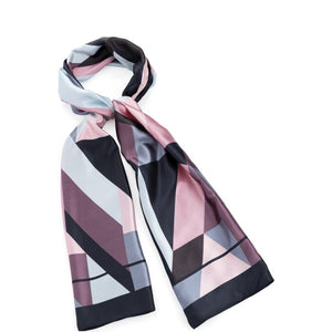 Blue, pink and grey tone satin look scarf