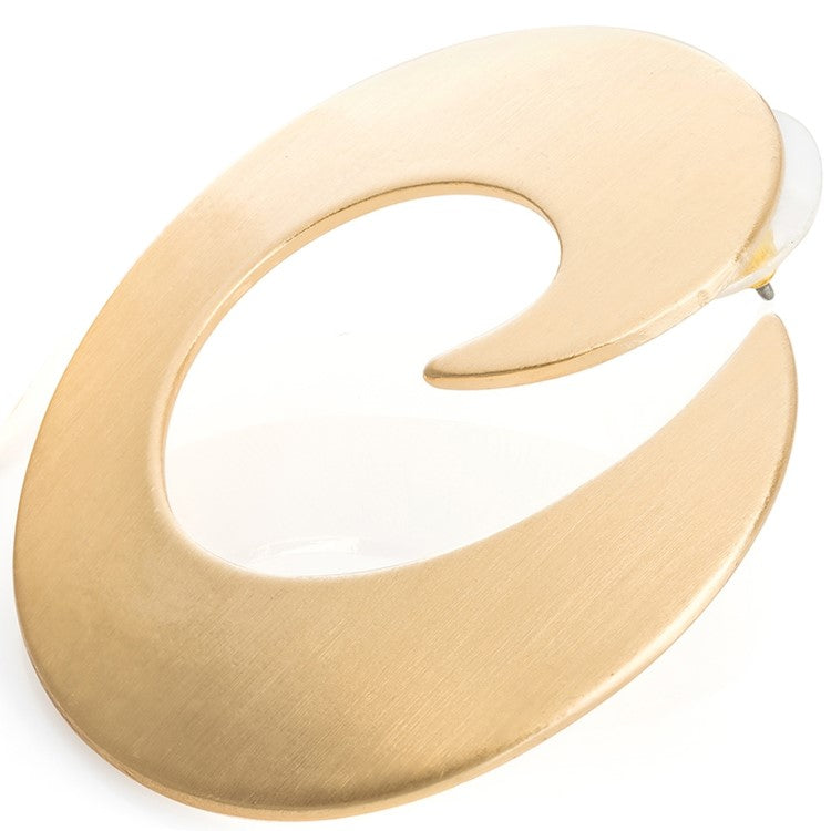 Brushed gold colour swirl design earring