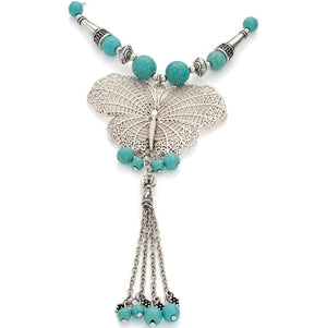 Burnished silver colour marble turquoise effect bead black cord butterfly necklace