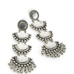 Burnished silver colour tribal look drop earring