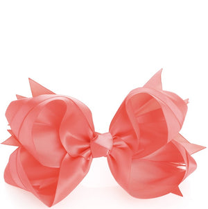Coral colour satin look hair bow on clip