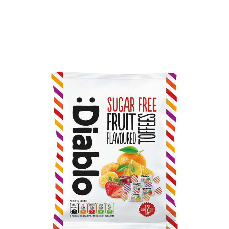 Diablo Fruit Toffee Sugar Free Sweets 75g