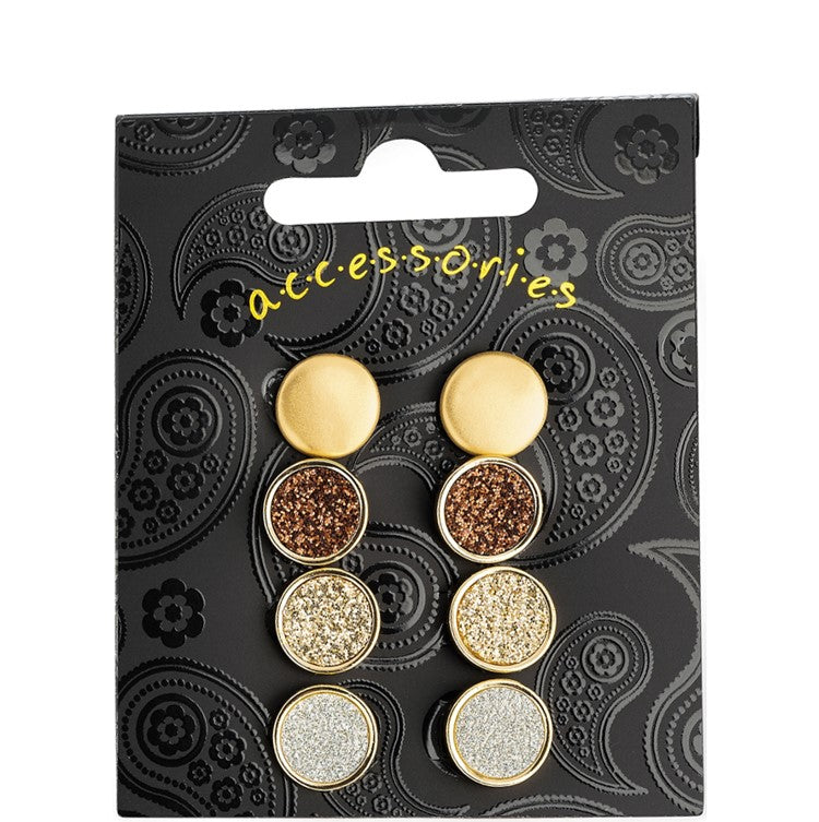 Four pairs worn gold, gold, silver & brown colour glitter effect stud earring set
